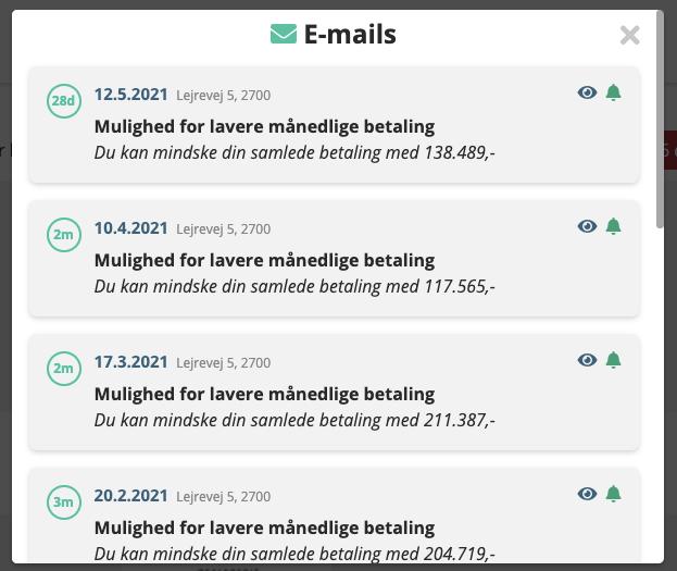 emails send til kunden